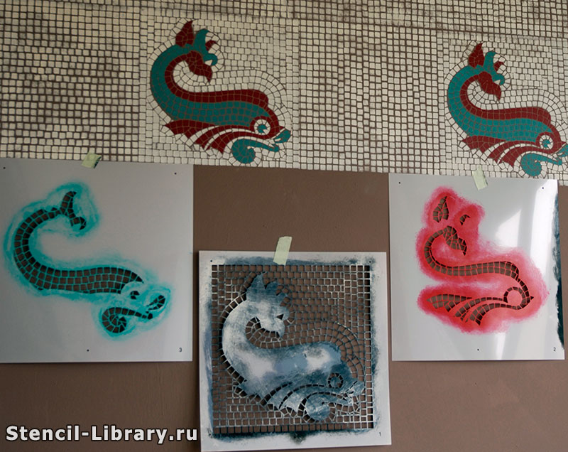 Трафарет мозаики на стене